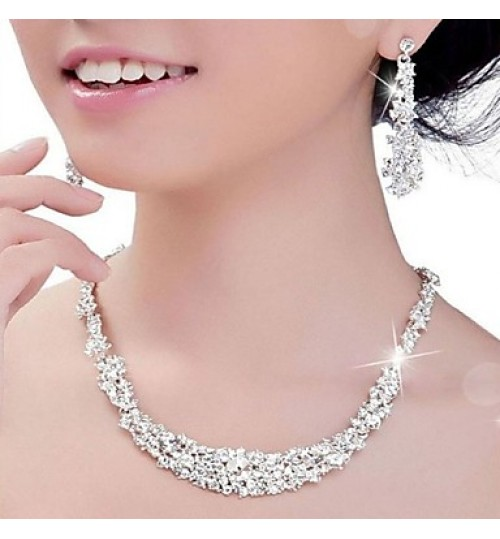 Luxury Rhinestone Crystal Necklace Earrings Jewelry Set for Wedding Party