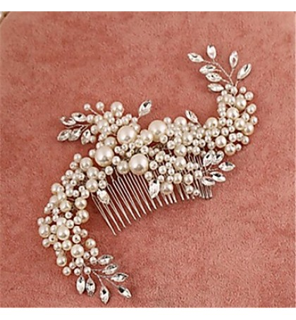 Women's / Flower Girl's Alloy / Imitation Pearl / Cubic Zirconia Headpiece-Wedding / Special Occasion Hair Combs 1 Piece Clear Round