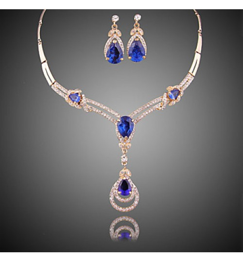 Fashion Gilded Necklace (necklace) (earrings)