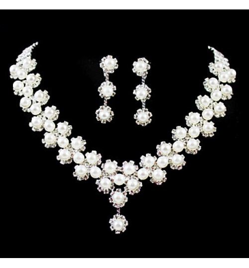 Jewelry Set Women's Wedding / Engagement / Birthday / Gift / Party Jewelry Sets Silver / Imitation Pearl / Alloy RhinestoneNecklaces /