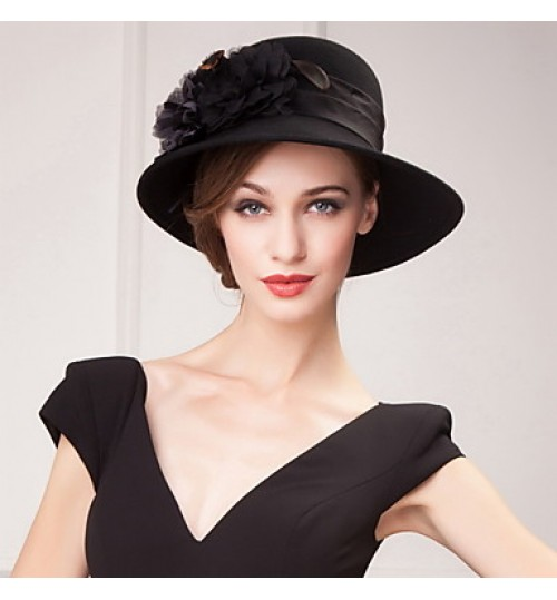 Gorgeous Wool Ladies Wedding /Party/Outdoor Sweet Hat With Floral(More Colors)
