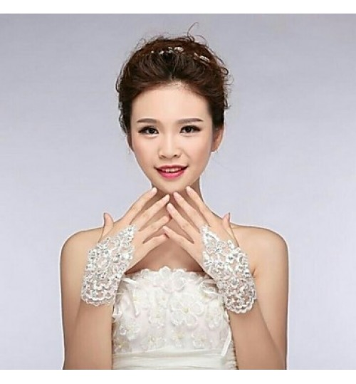 Ivory Lace Fingless Wedding Gloves ASG1