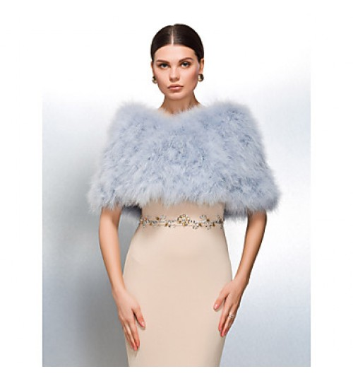 Fur Wraps / Wedding  Wraps Shrugs Feather/Fur White / Pearl Pink / Camel Wedding / Party/Evening / Casual Clasp